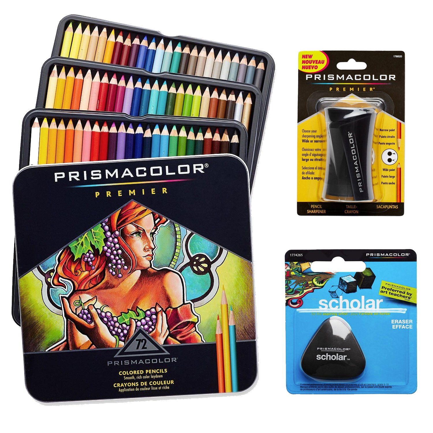 Prismacolor Colored Pencils Box of 72 Assorted Colors, Triangular Scholar Pencil Eraser and Premier Pencil Sharpener