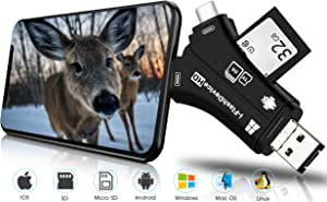 Trail Camera Viewer SD Card Reader, 4 in 1 Hunting Deer Camera Memory SD Card Reader to View Wildlife Scouting Game Camera Hunting Photos or Videos on Smartphone for iPhone IPad Mac or Android