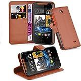 Cadorabo - Book Style Hülle für HTC DESIRE 310 - Case Cover Schutzhülle Etui Tasche mit Standfunktion und Kartenfach in SCHOKO-BRAUN
