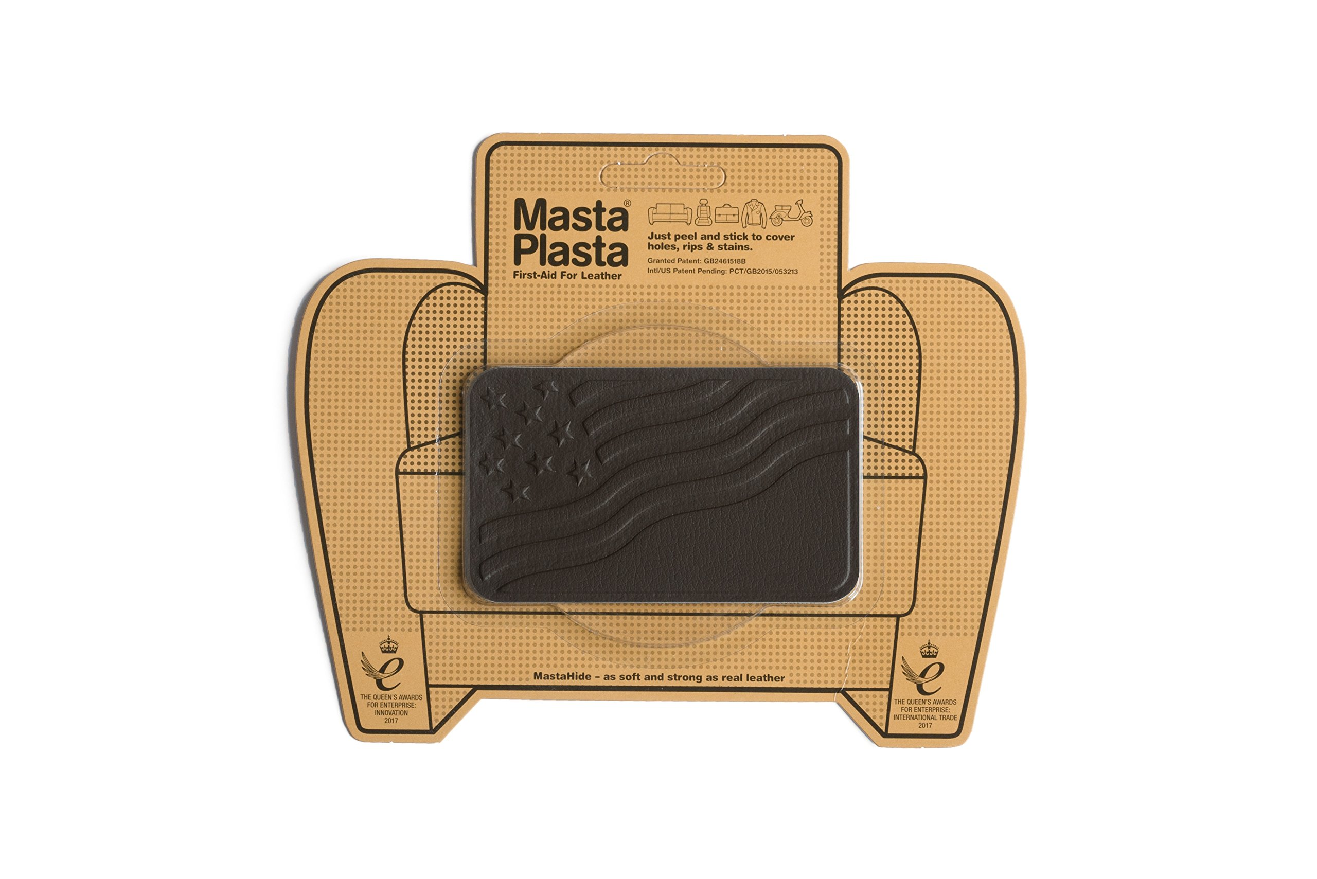MastaPlasta, Leather Repair Patch, First-aid for Sofas, Car Seats, Handbags, Jackets, etc. Dark Brown Color, Flag 4-inch by 2.4-inch, Designs Vary