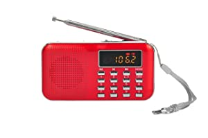 Portable Am Fm Radio Mp3 Music Player Speaker Support Micro Sd/TF Card with LED Screen Display (Red)