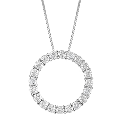 Amazon 110 ct diamond circle pendant necklace in 14k white 110 ct diamond circle pendant necklace in 14k white gold aloadofball Images