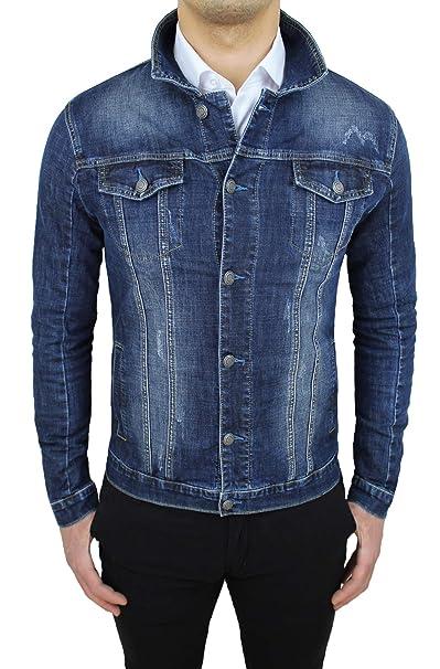 best website c7ecd 0906c Mat Sartoriale Giubbotto di Jeans Uomo Blu Scuro Denim Casual Giacca  Giubbino Slim Fit