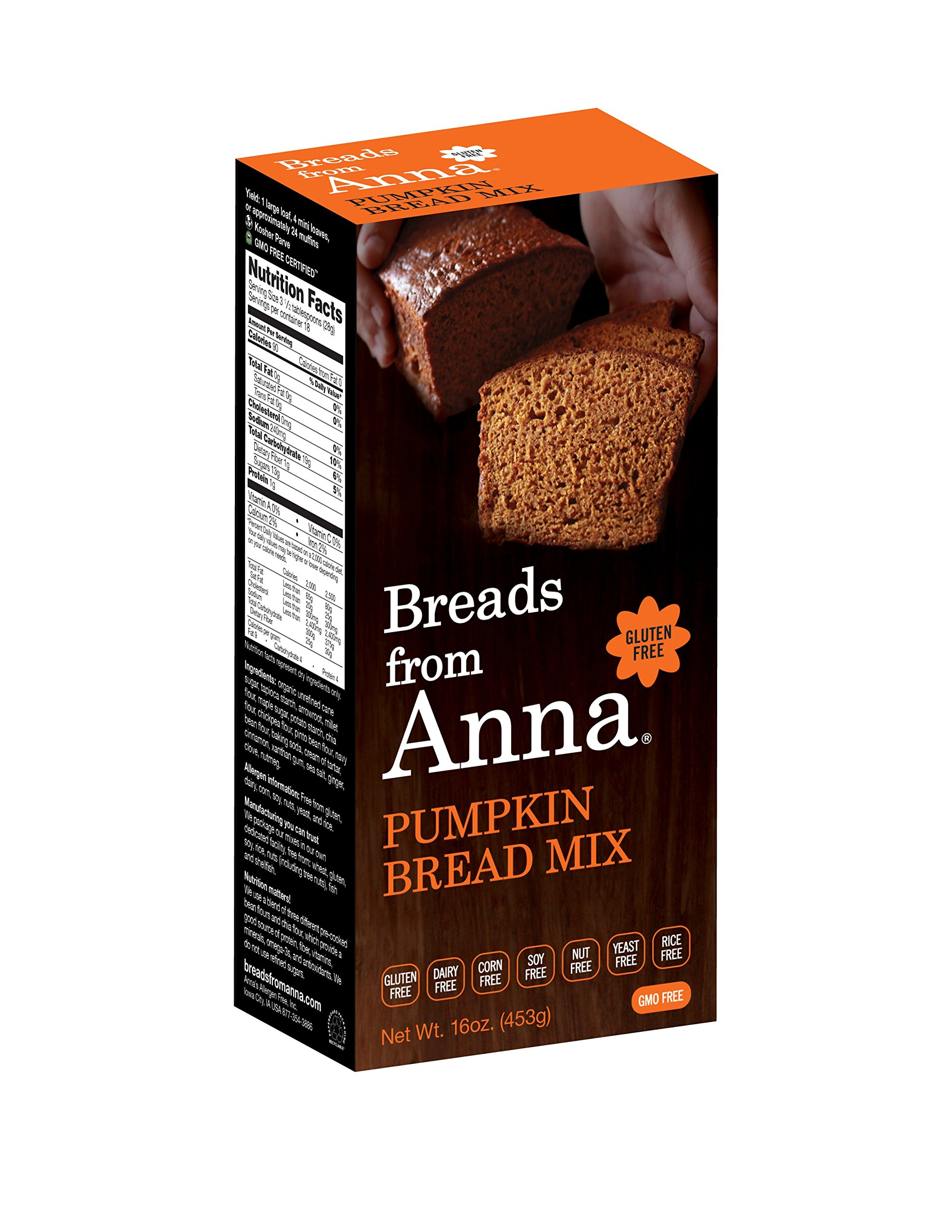 Breads from Anna, Pumpkin Bread, Gluten yeast soy rice corn dairy and nut free, 16 oz by Breads From Anna