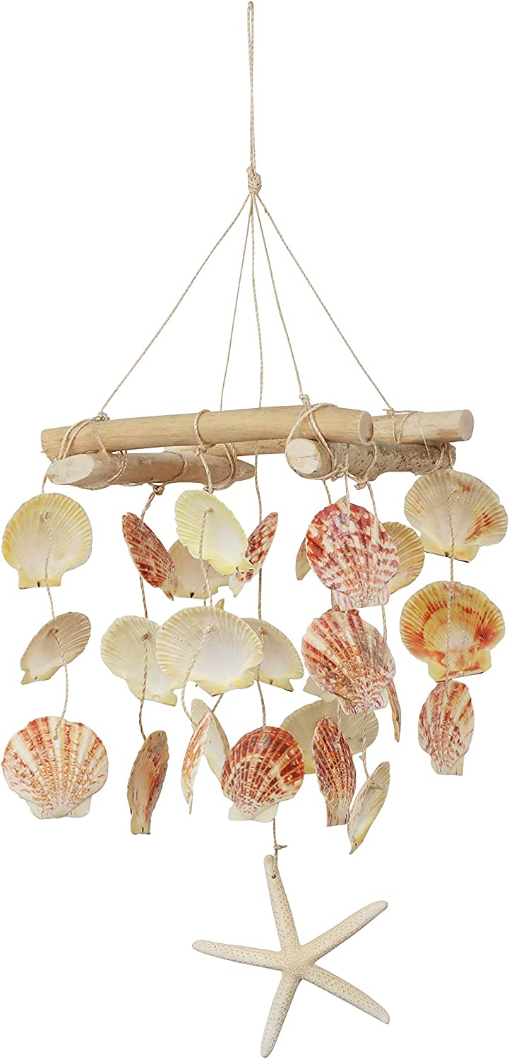 SandT Collection Pecten Seashell & Driftwood Windchime for Beach House - Coral