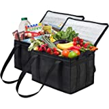 NZ Home Insulated Grocery Bag Large Heavy Duty, Strengthened Side Handles, Collapsible, Washable, Stands Upright, EZ…