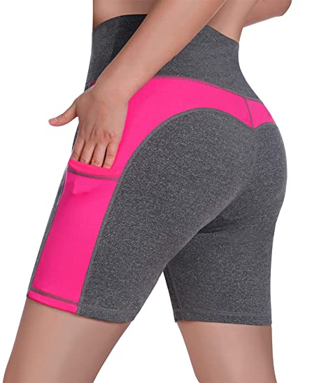 eac0bc8556 Rolewpy Women's High Waist Yoga Shorts Tummy Control Workout Running Shorts  with Side Pockets (Grey