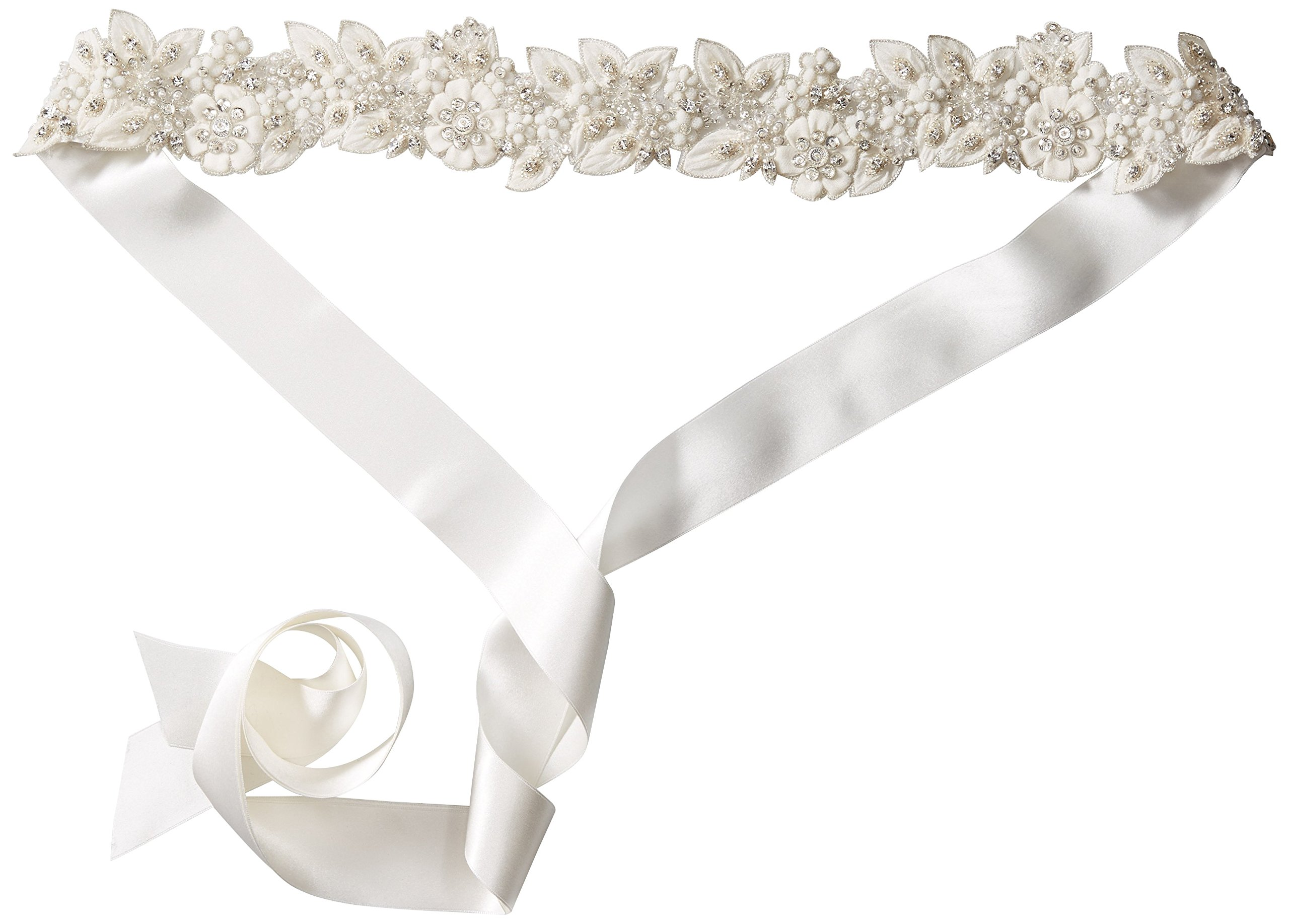 Twigs & Honey Women's Petite Flower and Blossom Embroidered Bridal Belt, Off White, One Size