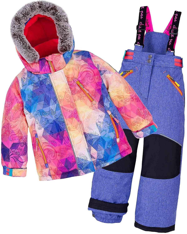 Deux par Deux Girls' 2-Piece Snowsuit Kaleidoscope Unicorn Violet, Sizes 5-14