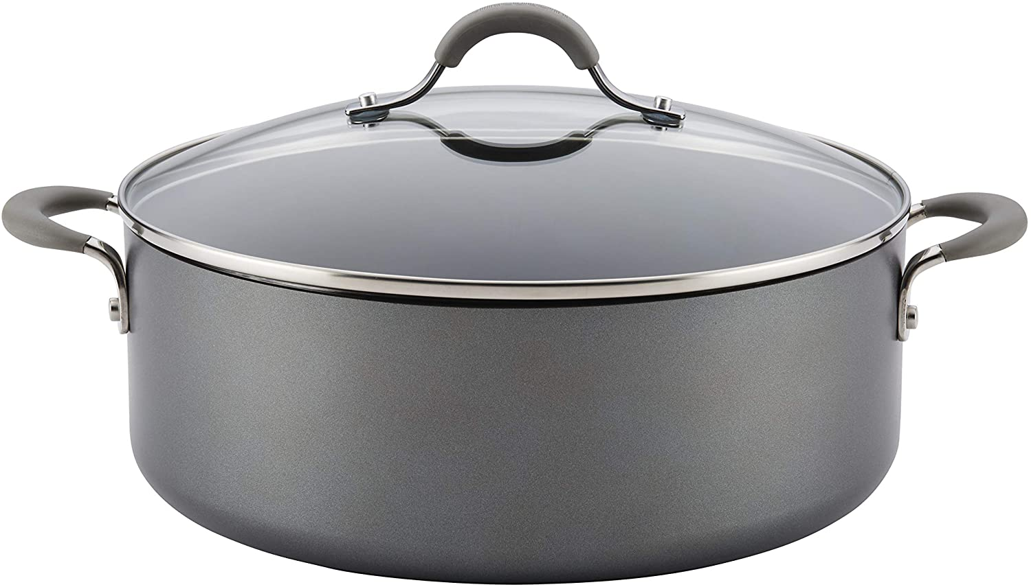 Circulon 84569 Elementum Hard Anodized Nonstick Stock Pot/Stockpot with Lid, 7.5 Quart, Oyster Gray