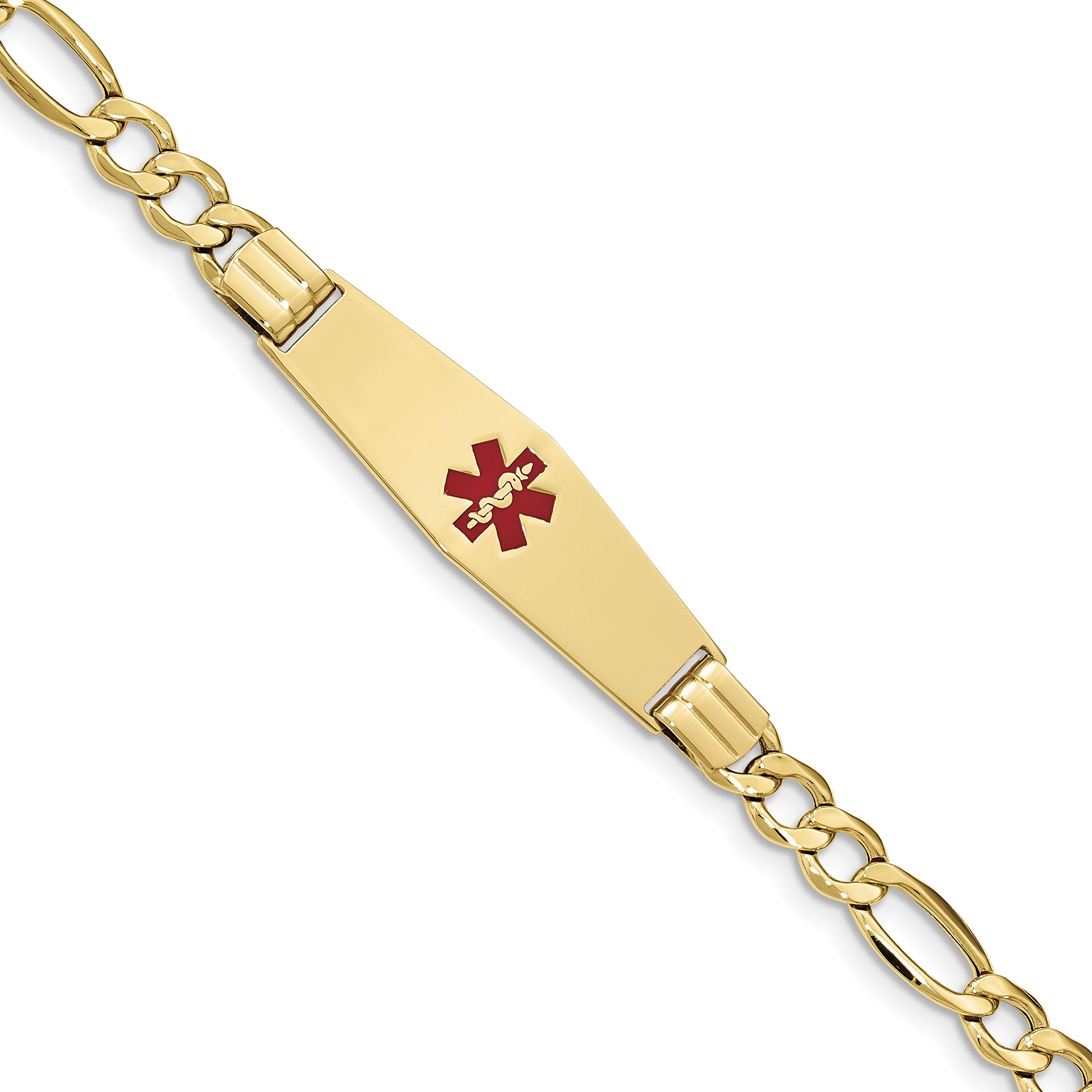 ICE CARATS 14k Yellow Gold Medical Soft Red Enamel Id W Link Figaro Bracelet 8 Inch Fine Jewelry Gift Set For Women Heart