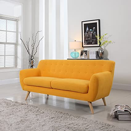 Divano Roma Furniture Mid Century Modern Style Sofa (Yellow, 3 Seater)