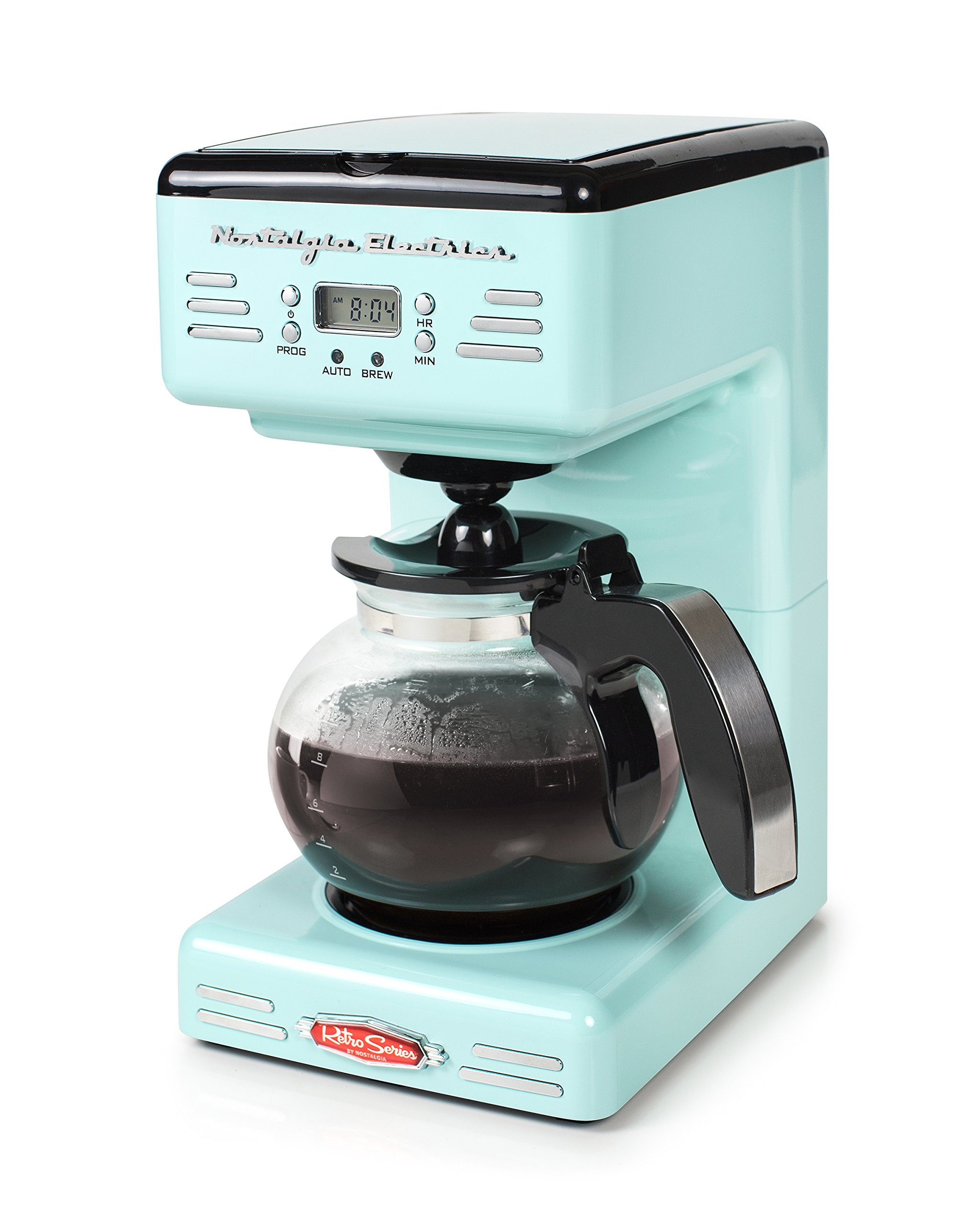 Nostalgia RCOF120AQ Retro 12-Cup Programmable Coffee Maker – Aqua Blue