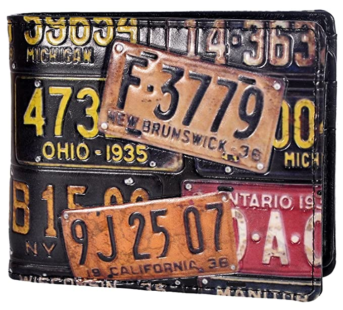 6a72843bd9d85 Image Unavailable. Image not available for. Color  Shag Wear Men s Bifold  Wallet License Plates