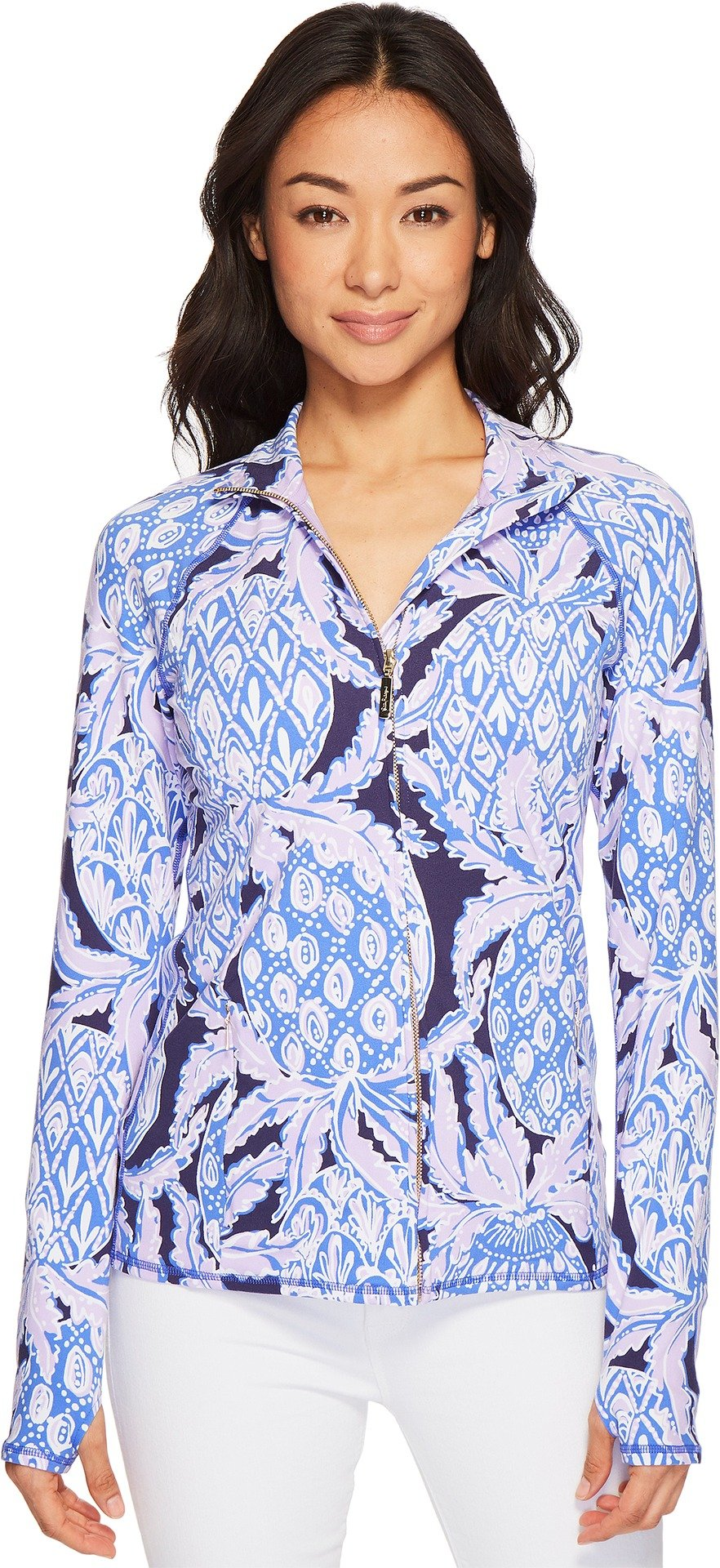 Lilly Pulitzer Women's Luxletic Serena Jacket Beckon Blue Coco Safari X-Large
