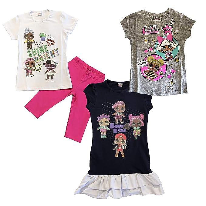 nuovo prodotto 3c0b1 7c682 LOL Surprise N. 3 Pezzi Completo + Vestito + t-Shirt 4 6 8 10 Anni