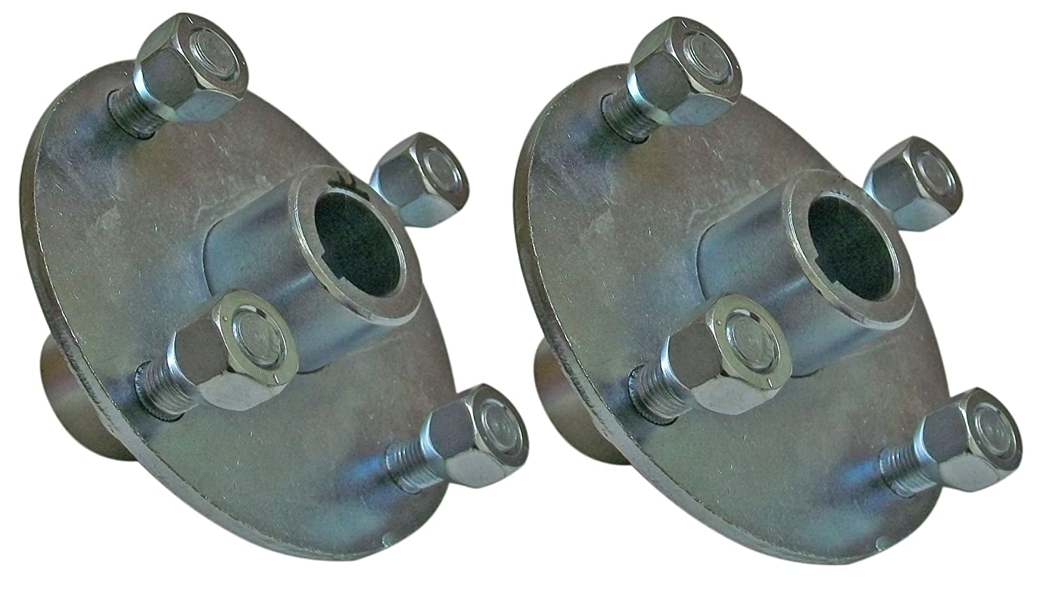 Set of 2-4x4 Galvanized Wheel Hubs 1' Bore with Lug Nuts for Go Karts Trailers Lawn Equipment BMI Karts