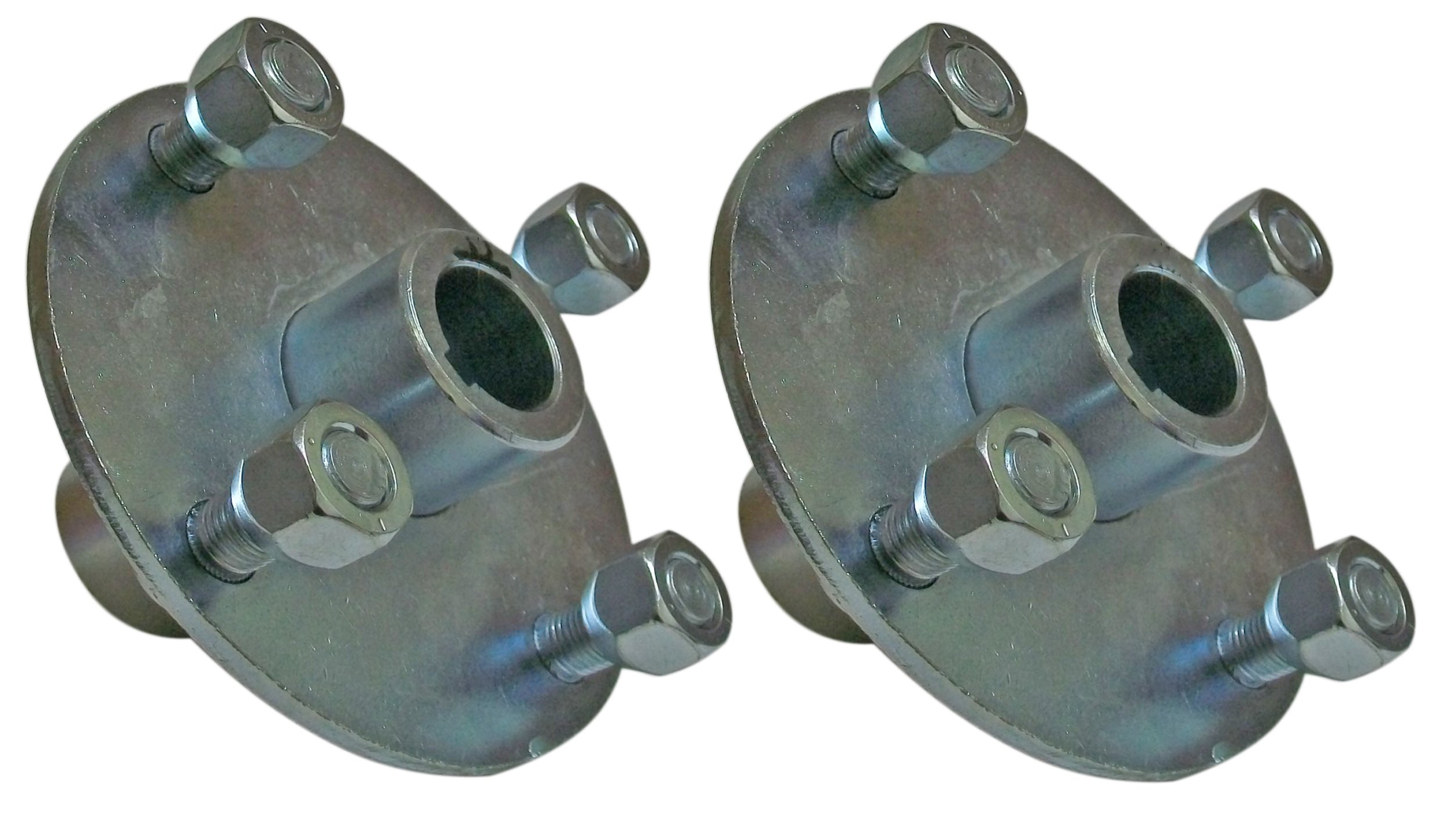 Set of 2-4x4 Galvanized Wheel Hubs 1'' Bore with Lug Nuts for Go Karts Trailers Lawn Equipment
