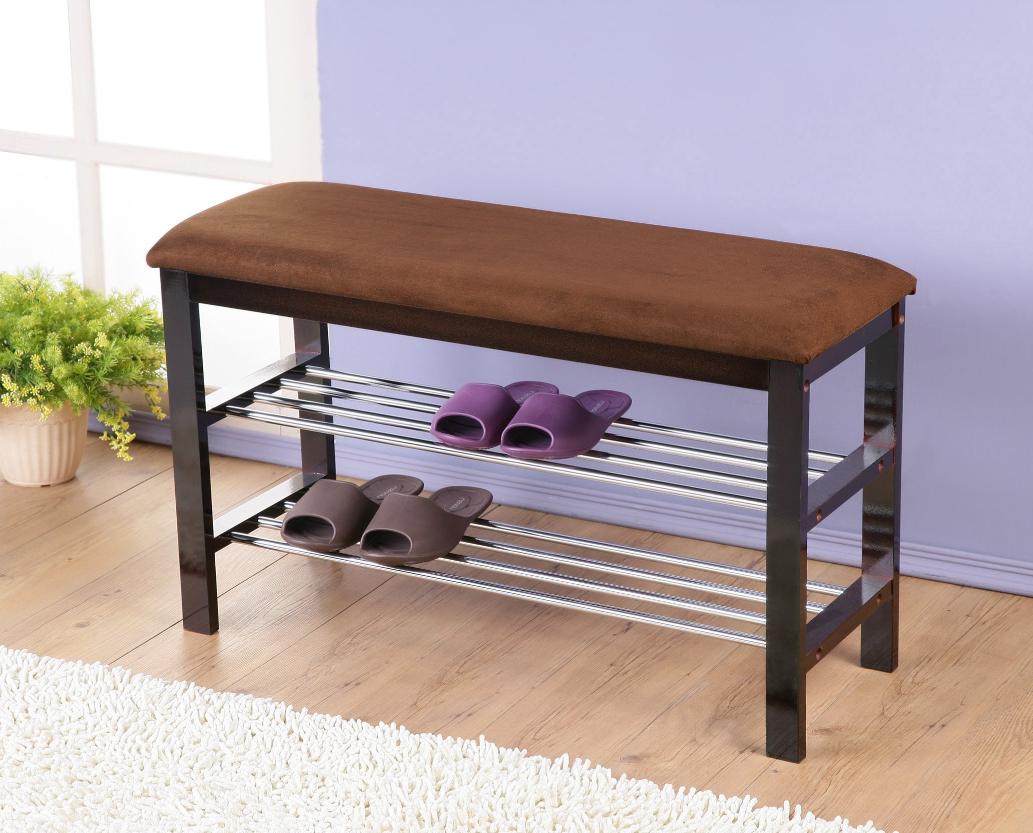 Roundhill Furniture Dark Espresso Wood Shoe Bench with Chocolate Microfiber Seat - Dark Espresso/Chocolate wood shoe rack organizer and hallway Bench Can be used as a shoe organizer, Bedroom and hall Way Bench with microfiber upholstery Seat cover on a wood base Features 2-tier of shoe storage - entryway-furniture-decor, entryway-laundry-room, benches - 81R7oTt35pL -