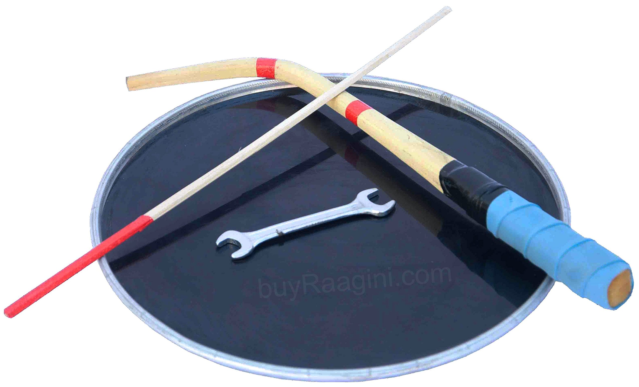 Maharaja Musicals Dhol Drum, Professional, Kachha Pakka Shesham Wood, Natural, Padded Bag, Beaters, Nylon Shoulder Strap, Punjabi Bhangra Dhol Instrument (PDI-DCE)