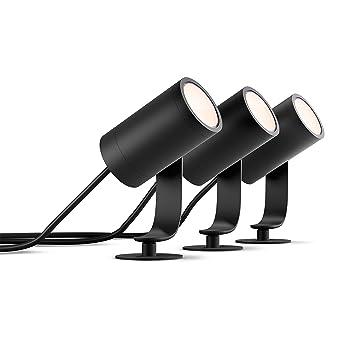 Philips Weihnachtsbeleuchtung.Philips Hue White And Color Ambiance Led Gartenstrahler Lily 3er Basis Set Dimmbar Bis Zu 16 Millionen Farben Steuerbar Via App Kompatibel Mit