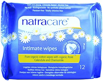 Natracare Organic Cotton Intimate Wipes, 12 Count