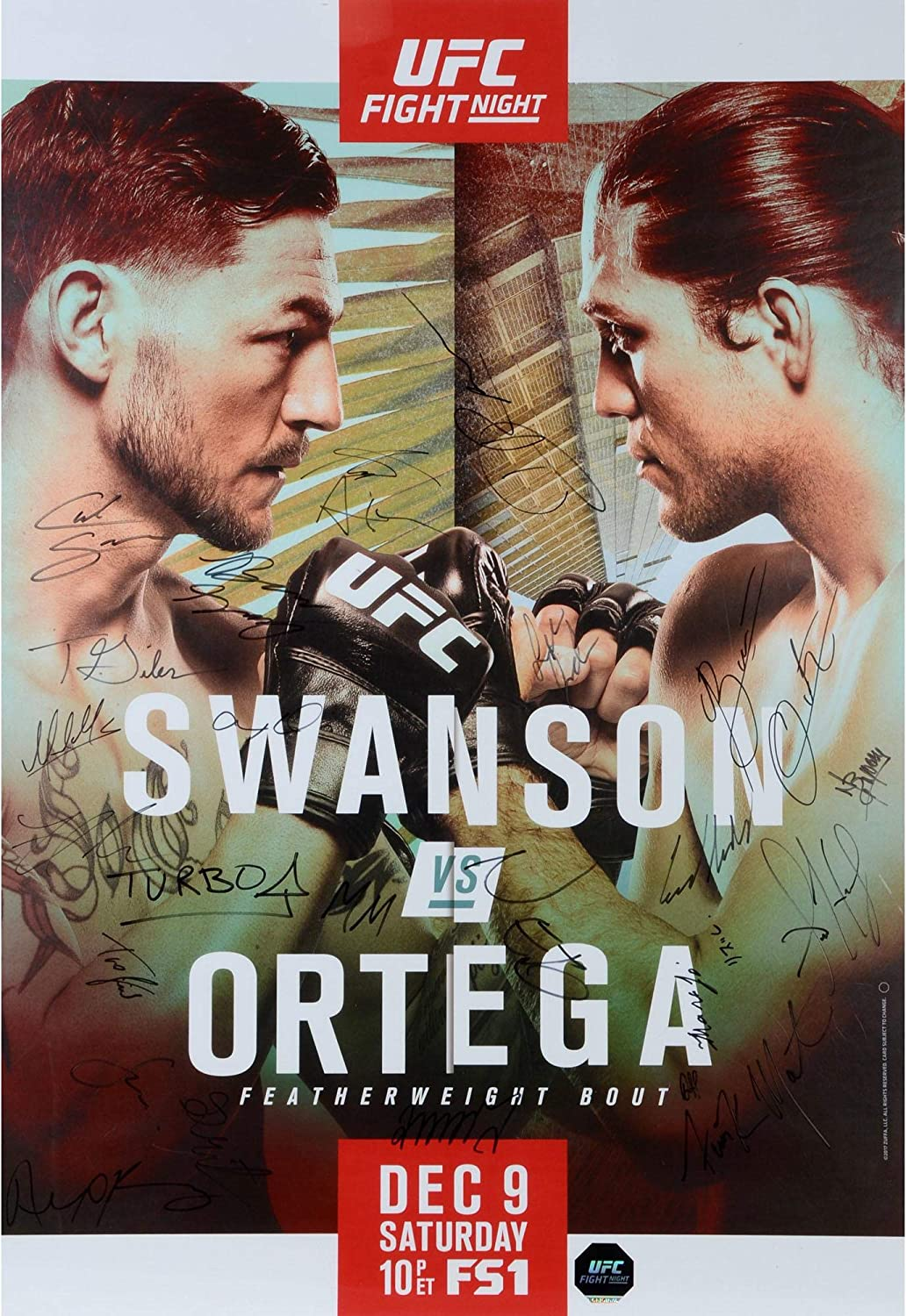 UFC Fight Night 123 Swanson vs. Ortega Autographed 27' x 39' 26-Signature Fight Poster - Fanatics Authentic Certified
