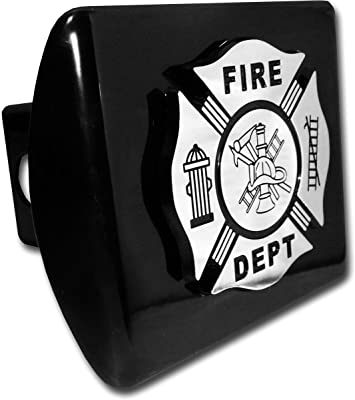 Elektroplate Firefighter Black Emblem Chrome All Metal Hitch Cover