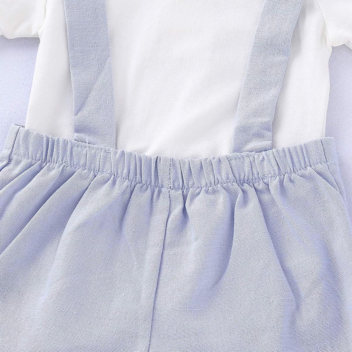 T TALENTBABY Cappello Pantaloni a Pettorina Set Pagliaccetto da Neonato con Maglietta a Righe Lunghe