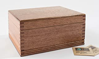 product image for CANNBISDOR, Solid Mahogany, Humidity Controled CANNABIS Storage Chest. With FOUR Glass Storage Jars each with perforated Lids in Wood Rack.