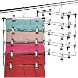 Space Saving 5 Tier Metal Skirt Hanger with Clips (3 Pack) Hang 5-on-1, Gain 70% More Space, Rubber Coated Hanger Clips…