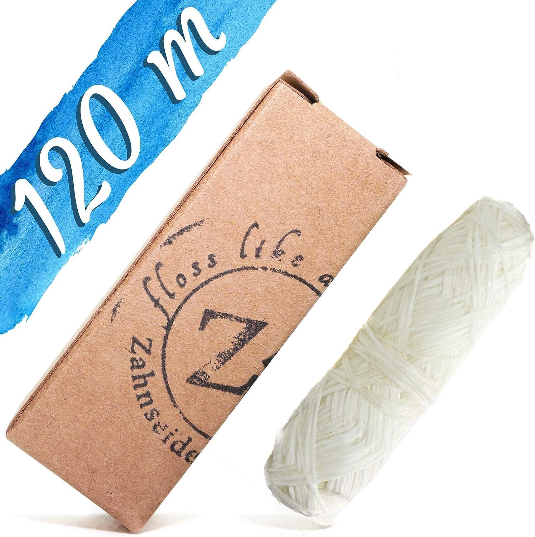 Zahnseidenkampagne Hilo dental PLA Premium con cera de candelilla y aroma de menta de jengibre, sin plástico (bobina de 4 x 30 m)