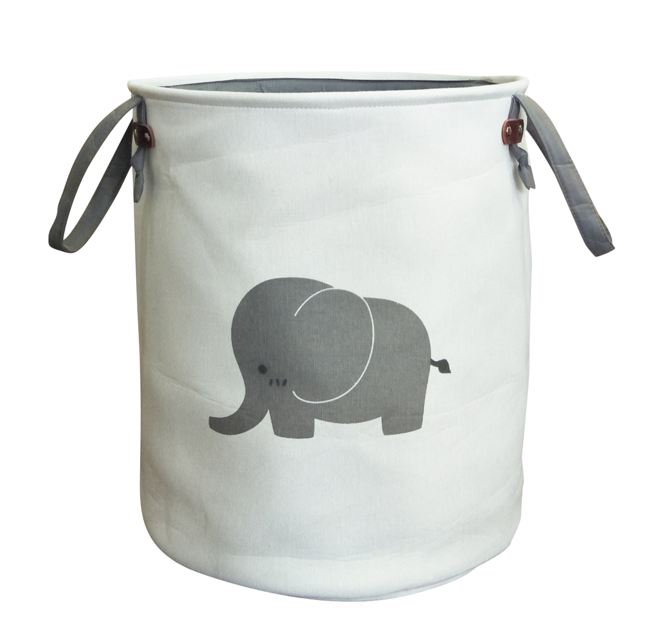 ESSME Canvas Toy Organizer,Cotton Cute Elephant Bin,Collapsible Storage Basket with Handles for Baby Clothes,Laundry,Toy,Bedroom and Office(Elephant)