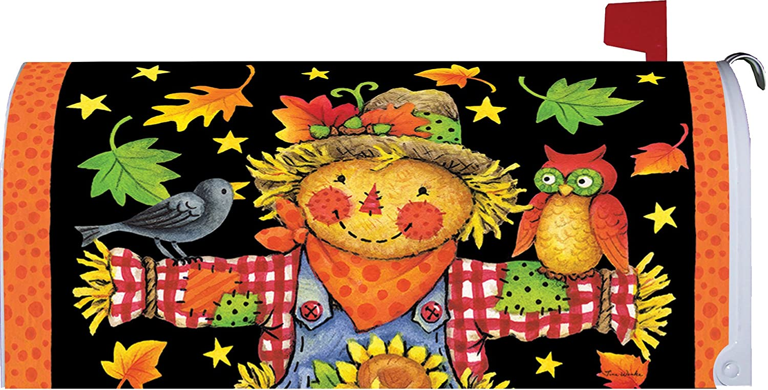 Checkered Scarecrow with Owl - Mailbox Makeover - Vinyl Magnetic Cover Companion for Scarecrow and Pumpkins Flags