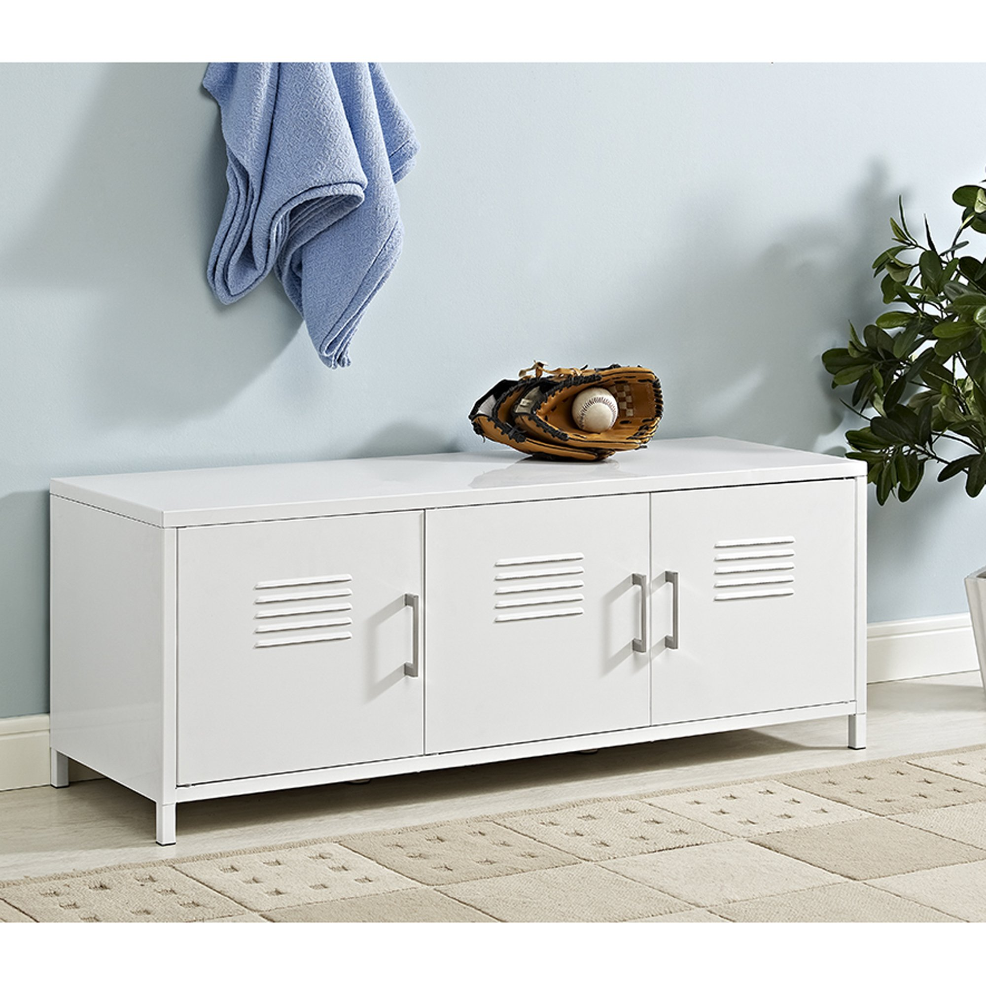 W. Designs 48'' Metal Locker Style Storage Bench White
