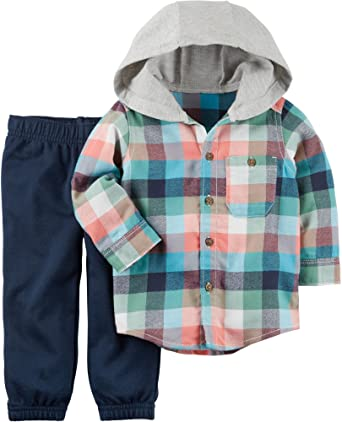 775ee94ba Carter's Baby Boy 2-Piece Hooded Button-Front & French Terry Pant Set (