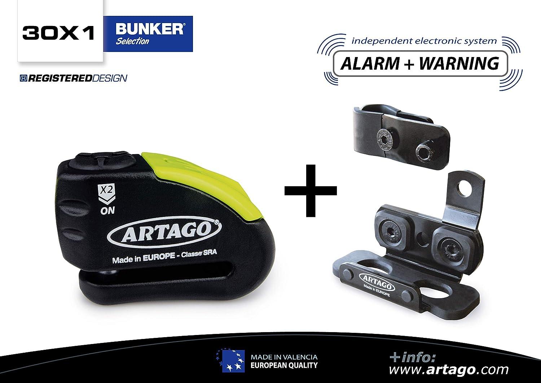 Artago 30X1 Candado Antirrobo Disco Con Alarma 120Db Alta Gama y Soporte para Las Bmw Gs R1250Gs, R1200Gs, F850G