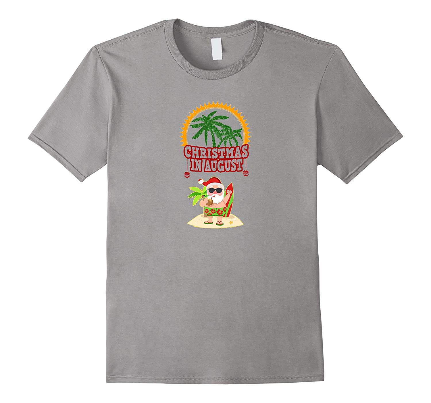 Christmas In August Funny Santa T-Shirt Surfing Palm Trees-Art