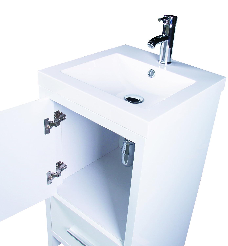 Sliverylake Contemporary White Bathroom Vanity Cabinet MDF Wood ...