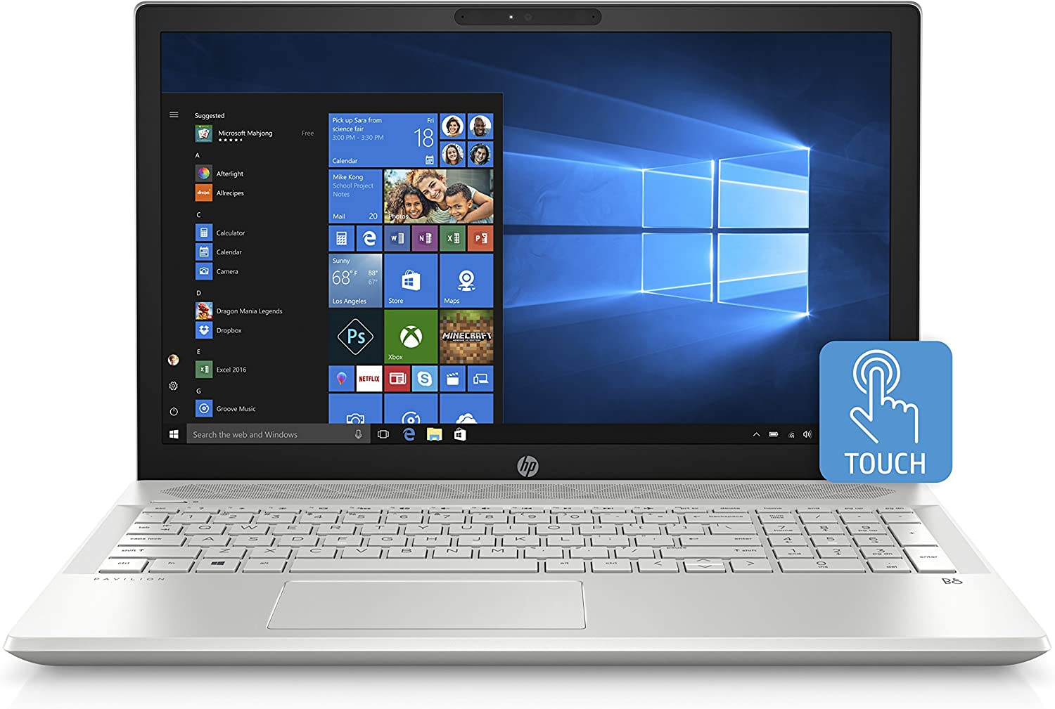 HP Pavilion 15-inch Laptop, Intel Core i5-8250U Processor, 8 GB RAM, 1 TB Hard Drive, Windows 10 Home (15-cu0010nr, Silver)