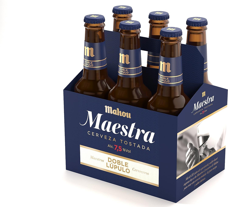 Mahou - Maestra Doble Lúpulo Cerveza Lager Tostada, 7.5% Volumen de Alcohol - Pack de 6 x 33 cl: Amazon.es: Alimentación y bebidas