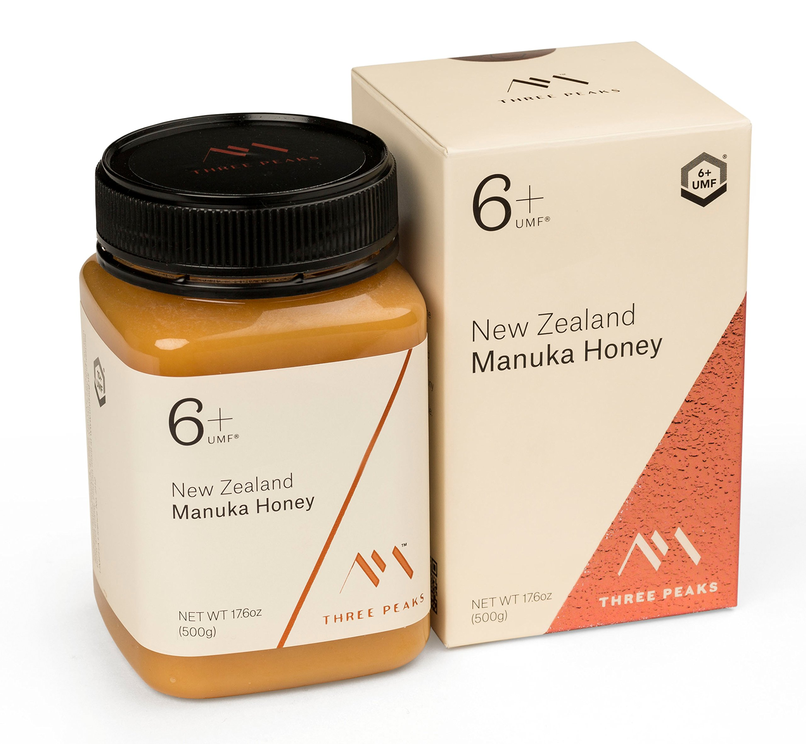 Three Peaks Manuka Honey New Zealand - Certified UMF 6+ - 17.6 oz (500gm) - 100% Natural honey, Raw honey – Ultra Premium, Healing Manuka honey