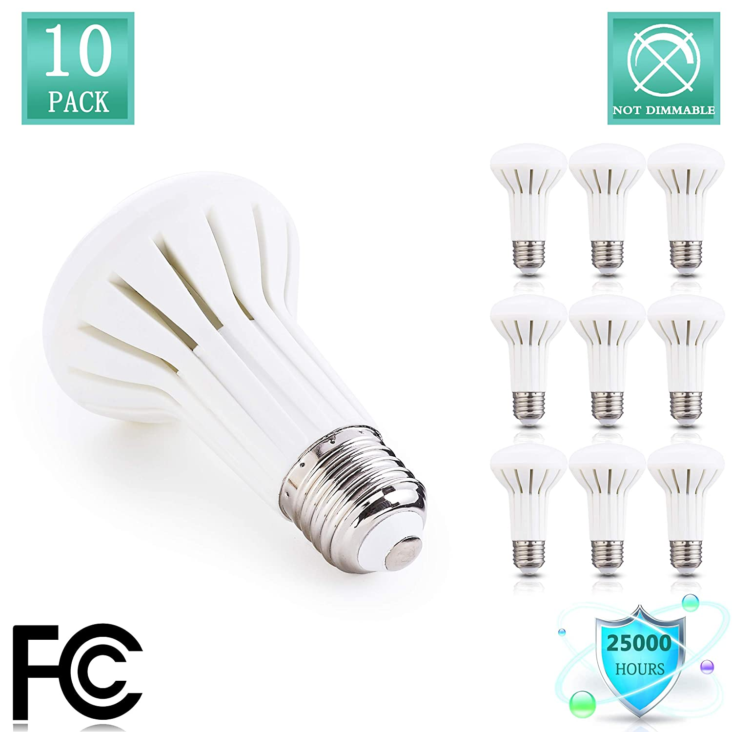 BR20 LED lighting Bulb, 500 lumens,Indoor outdoor Flood Light Bulb,5W (45W Incandescent Equivalent), Daylight White 5000K, Non Dimmable appliance light Bulb Damp Rated, E26 Medium Base(Pack of 10)