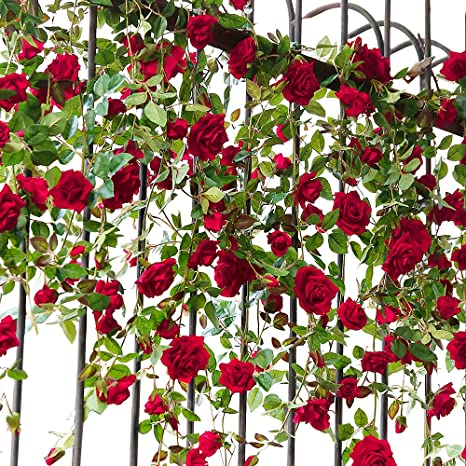 YILIYAJIA Artificial Rose Flower Garland Bridal Wedding Decoration Craft  Flannelette Velvet Flowers for Home and Wedding Decor(1 Pack)