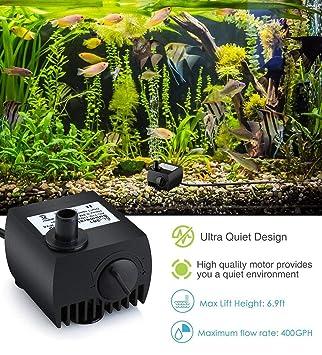 Pet Protector Bomba Sumergible Fuente Bomba de Agua 80 GPH (300L / H) para