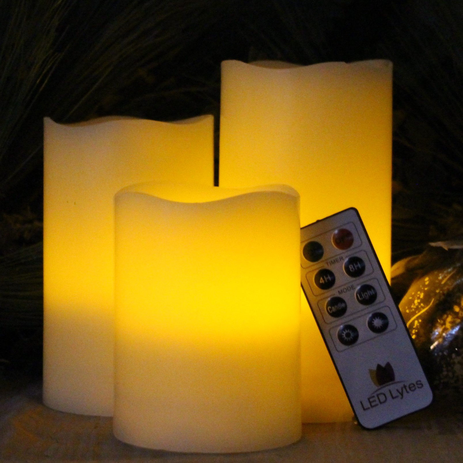 LED Lytes Flickering Flameless Candles - Set of 3 Ivory Wax Flickering Amber Yellow Flame, Auto-Off Timer Remote Control Fake Battery Operated Candles by LED Lytes (Image #5)
