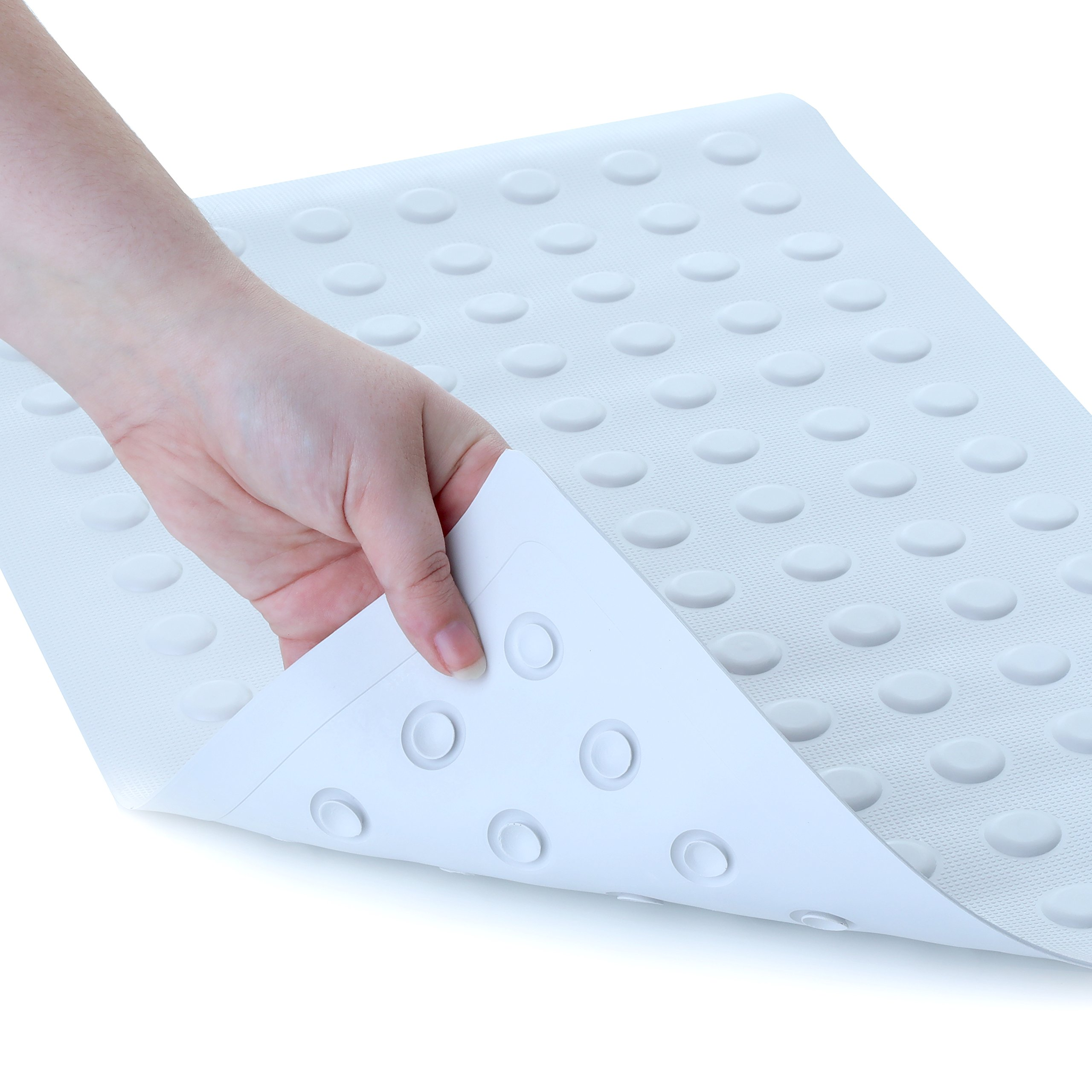 SlipX Solutions Mildew Resistant White Rubber Bath Safety Mat Features Powerful Microban Antimicrobial Product Protection (14'' x 22'', 100+ Suction Cups, Machine Washable)
