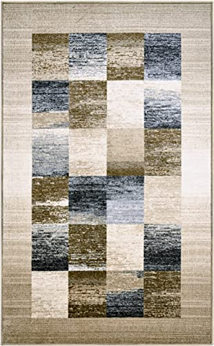 Blue Nile Mills Digitally Printed, Low Maintenance, Affordable and Fashionable, Non-Slip Lockwood Area Rug, 8 x10 , Chocolate