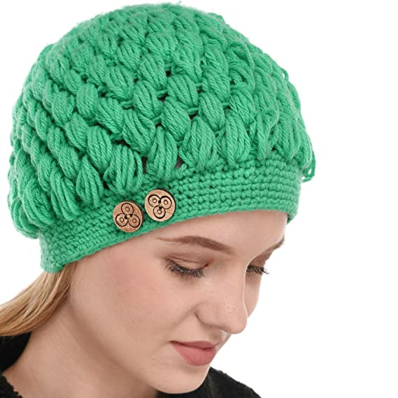 3e0613a1dab Falcon18 Women s Hand Knitted Fleece Lined Thick Oversized Cable Pom Pom  Beanie Hat (Light Green