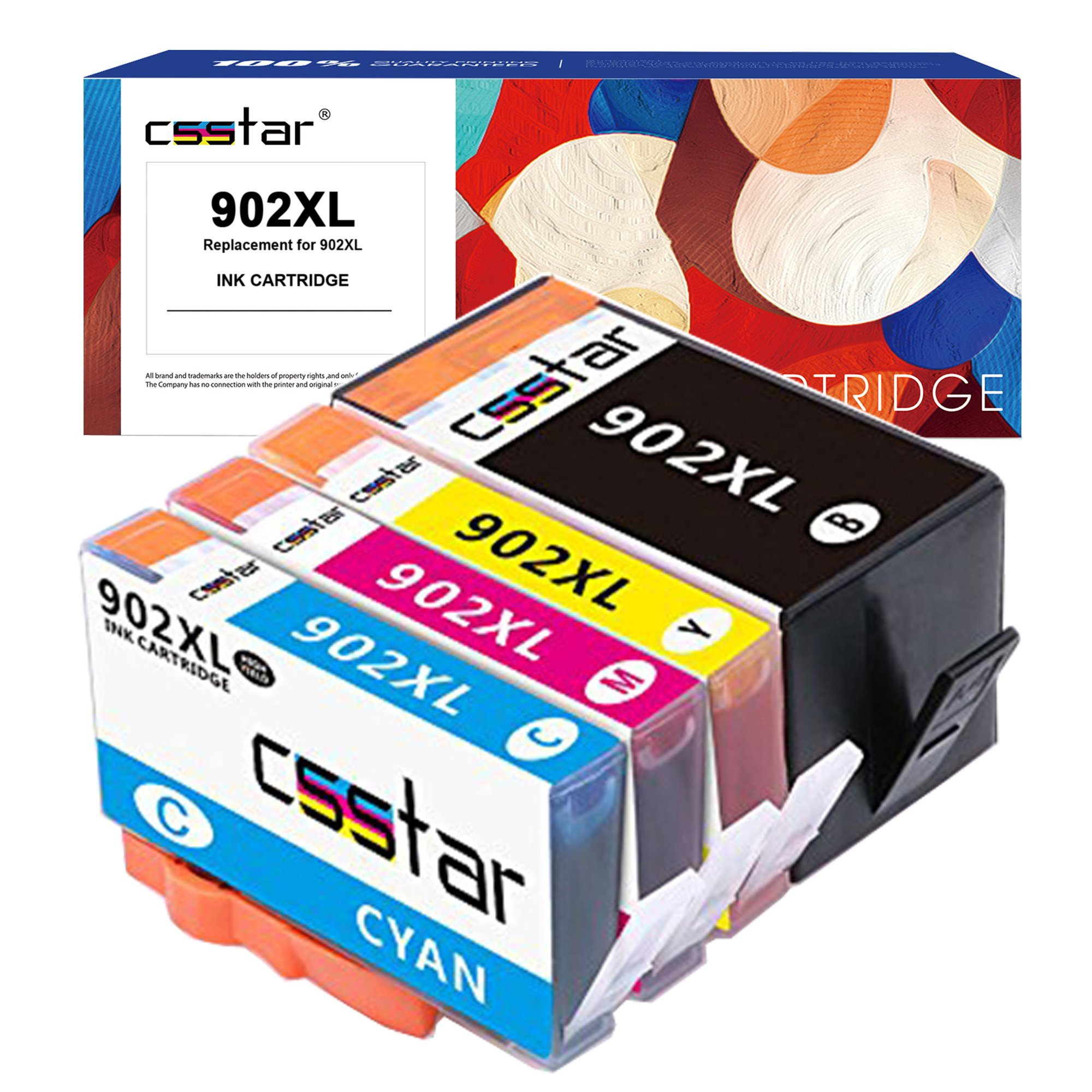 CSSTAR Remanufactured Ink Cartridge Replacement for 902 XL 902XL Combo Pack Use in OfficeJet Pro 6968 6978 6975 6970 6960 6954 6962 6950 6954 Printer - Black, Cyan, Magenta, Yellow